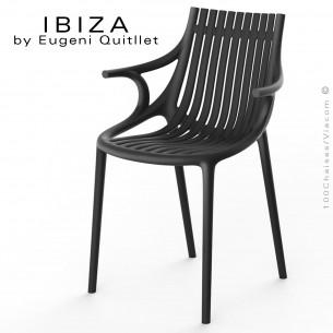 Fauteuil design IBIZA, structure, assise et accoudoirs coque plastique couleur noir.