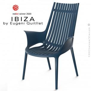 Fauteuil lounge design IBIZA, structure, assise et accoudoirs coque plastique couleur bleu Navy.