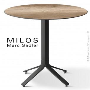 Table MILOS, plateau HPL 80 robur, pied aluminium noir foncé.