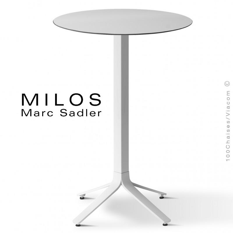 Table mange debout MILOS, plateau HPL 60 blanc, pied aluminium peint blanc.