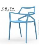 Fauteuil design DELTA, structure, assise et accoudoirs plastique couleur bleu.
