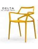 Fauteuil design DELTA, structure, assise et accoudoirs plastique couleur jaune MOSTAZA.