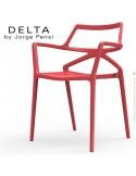 Fauteuil design DELTA, structure, assise et accoudoirs plastique couleur noir.