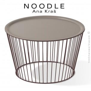 Table basse NOODLE, pied brun, plateau gris tourterelle en acier peint.