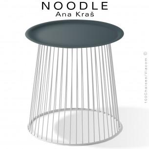 Table basse NOODLE, pied blanc signalisation et plateau gris anthracite en acier peint.