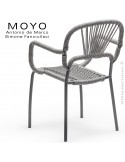 Fauteuil MOYO, structure acier peint satin anthracite, assise tressée.