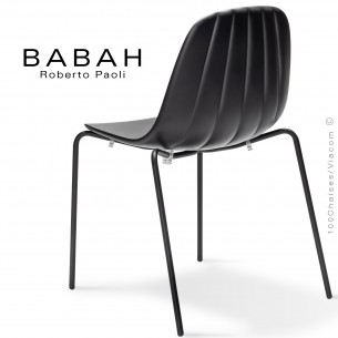 Chaise BABAH,structure 4 pieds peint noir, assise plastique black.