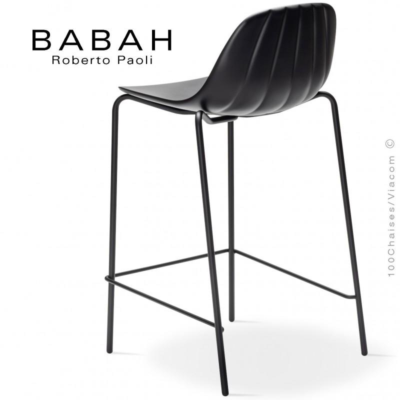 Tabouret de cuisine BABAH 65, pieds acier noir, assise plastique noir.