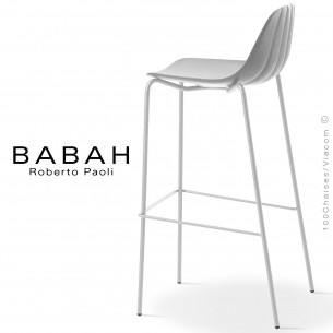Tabouret de bar BABAH 80, pieds acier blanc, assise plastique blanc.