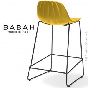 Tabouret de cuisine BABAH 65, pieds luge acier noir, assise plastique jaune.