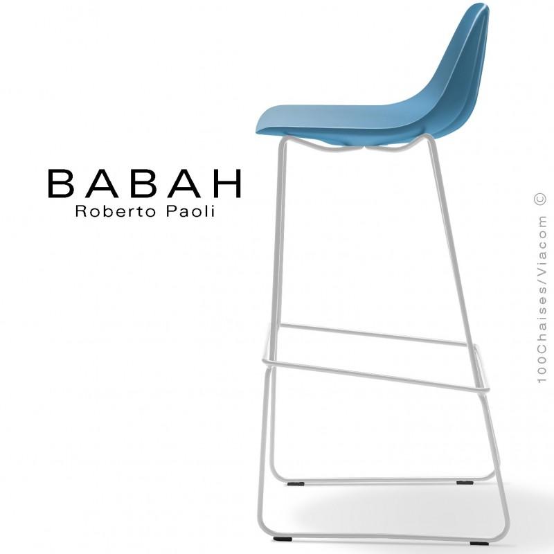 Tabouret de bar BABAH 80, pieds luge acier blanc, assise plastique bleu.