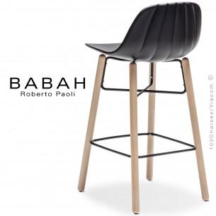 Tabouret de cuisine BABAH W65, pieds bois hêtre, structure acier noir, assise plastique noir.