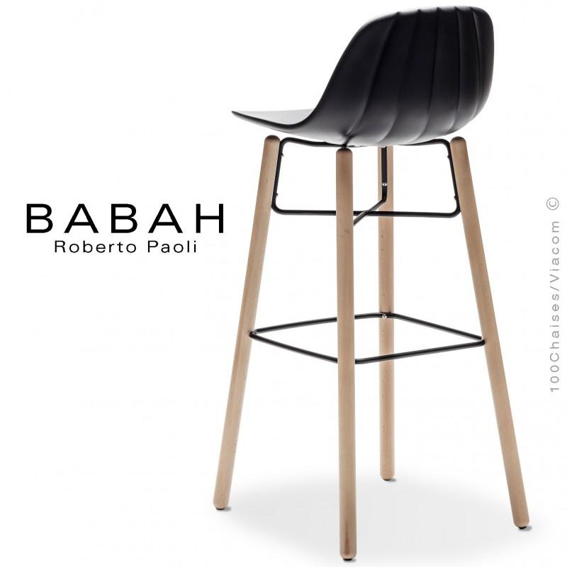 Tabouret de bar BABAH Wood W80, pieds bois hêtre, structure acier noir, assise plastique noir.
