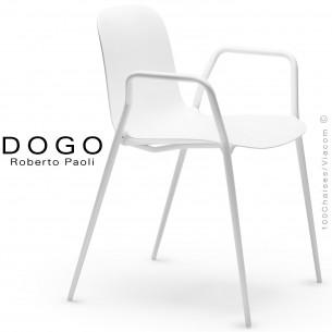 Fauteuil DOGO, structure peint blanc, assise plastique blanc.