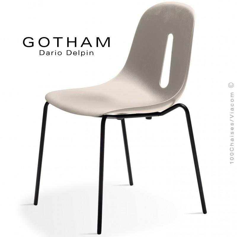Chaise GOTHAM S, structure peint noir, assise plastique sable.
