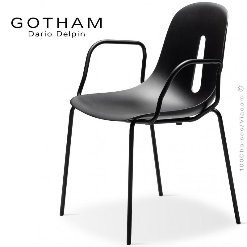Fauteuil GOTHAM P, structure peint noir, assise plastique noir.