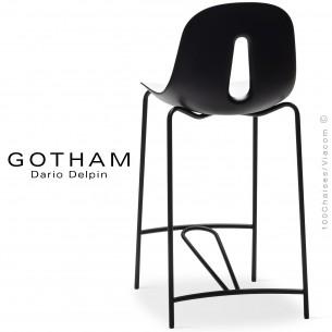 Tabouret de cuisine GOTHAM SG 65, structure peint noir, assise plastique blanc+noir.