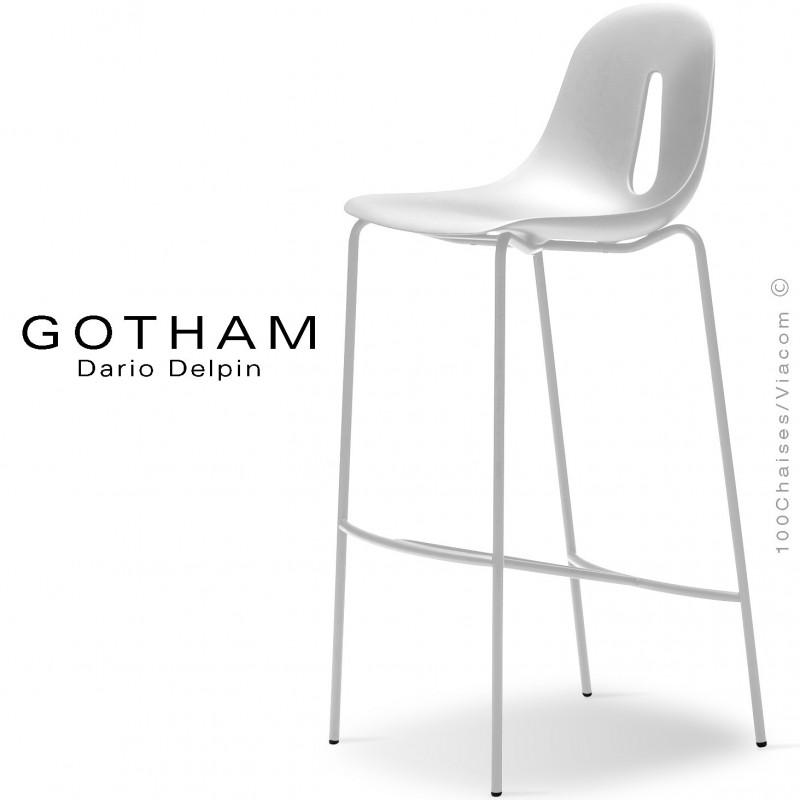 Tabouret de bar GOTHAM SG 80, structure peint blanc, assise plastique blanc.