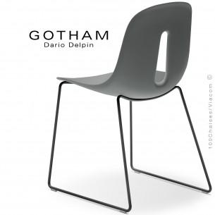 Chaise GOTHAM-SL, structure luge acier noir, assise plastique gris