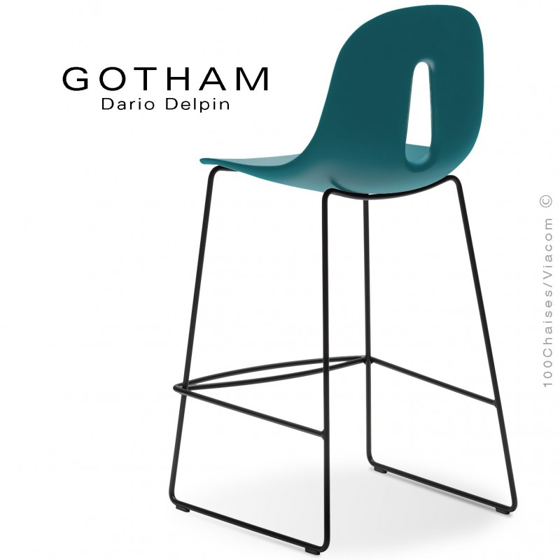 Tabouret de cuisine GOTHAM-SL-SG-65, structure luge acier noir, assise plastique bleu pétrol