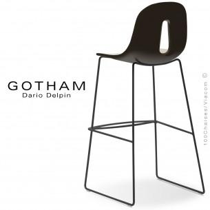 Tabouret de bar GOTHAM-SL-SG-80, structure luge acier peint noir, assise plastique couleur crème+café
