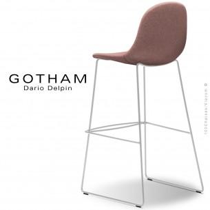 Tabouret de bar design GOTHAM-SLI-SG-80, structure luge acier peint blanc, assise garnie tissu 301.