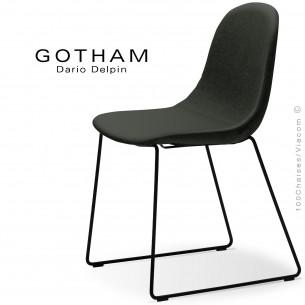 Chaise design GOTHAM-SLI, structure luge acier noir, assise garnie tissu 203