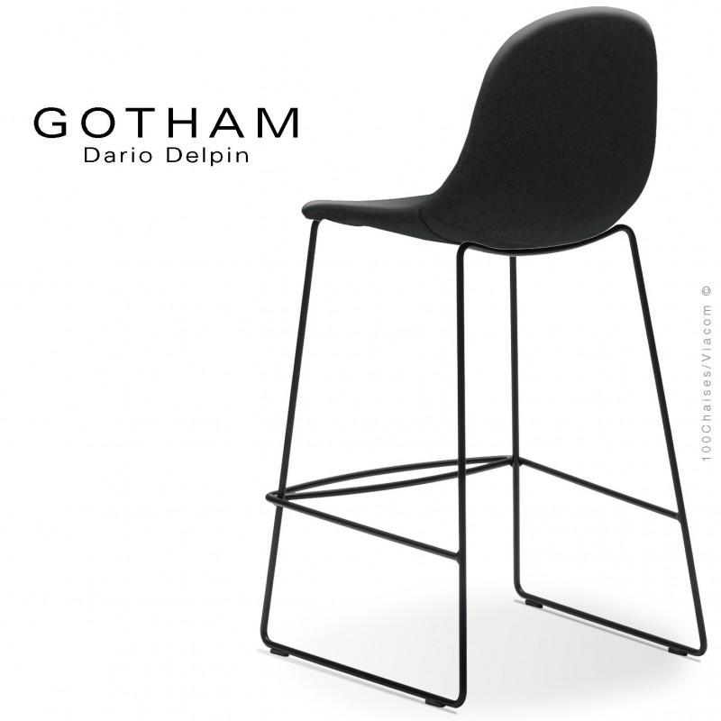 Tabouret de cuisine design GOTHAM-SLI-SG-65, structure luge acier peint noir, assise garnie tissu 702