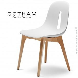 Chaise design GOTHAM-W, assise coque plastique, piétement bois.