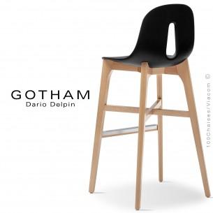 Tabouret de bar GOTHAM-W-SG-80, piétement bois, assise coque plastique.