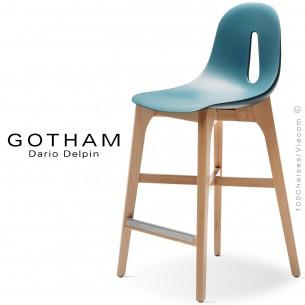 Tabouret de cuisine GOTHAM-W-SG-65, piétement bois, assise coque plastique.