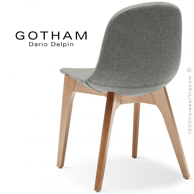 Chaise GOTHAM-WS, piétement bois hêtre naturel, assise garnie tissu 600gris