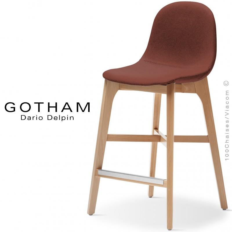 Tabouret de cuisine GOTHAM-WS-SG-65, piétement bois hêtre, assise garnie tissu 302rouge