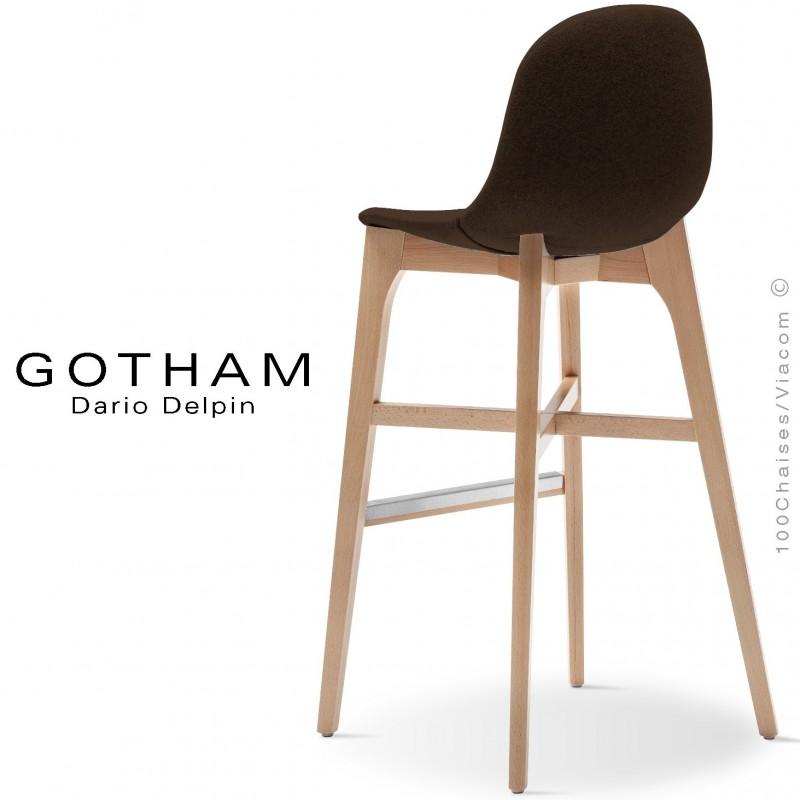 Tabouret de bar GOTHAM-WS-SG-80, piétement bois hêtre, assise garnie tissu 404marron