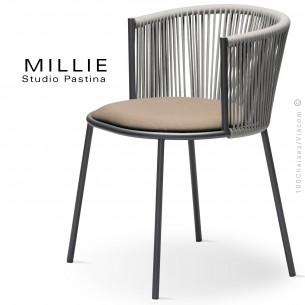 Fauteuil MILLIE SP, piétement acier anthracite, assise tissu 102crème, dossier corde gris.