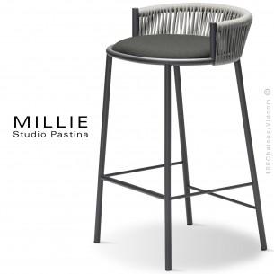 Tabouret de cuisine MILLIE-SG-65, piétement acier anthracite, assise tissu 603gris, dossier corde gris.