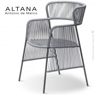 Fauteuil design ALTANA-SP, piétement acier peint anthracite, assise et dossier habillage corde gris.