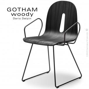 Fauteuil GOTHAM WOODY-SL-P, piétement luge acier noir, assise coque bois noir.