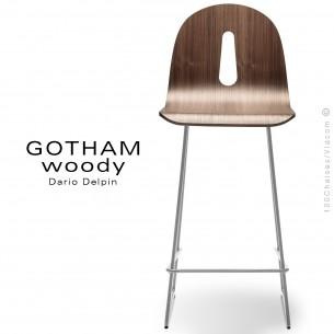 Tabouret de cuisine GOTHAM WOODY-SL-SG-65, piétement luge acier blanc, assise coque bois noyer.