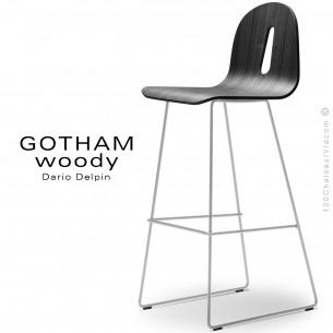 Tabouret de bar GOTHAM WOODY-SL-SG-80, piétement luge acier blanc, assise coque bois noir.