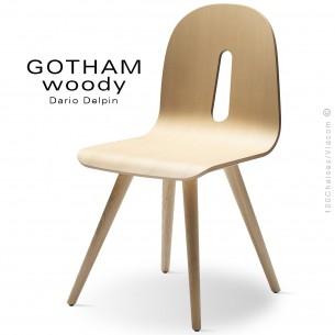Chaise design GOTHAM WOODY-S, piétement et assise bois frêne.