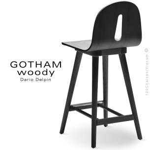 Tabouret de cuisine GOTHAM WOODY-SG-65, piétement et assise bois de frêne laqué noir.