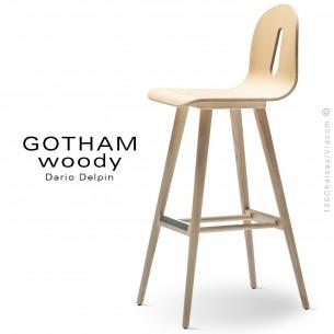 Tabouret de bar GOTHAM WOODY-SG-80, piétement et assise bois frêne naturel.