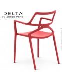 Fauteuil design DELTA, structure, assise et accoudoirs plastique couleur rouge.