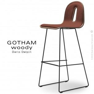 Tabouret de bar GOTHAM WOODY-SL-SG-80-I, piétement noir, assise noyer, tissu 302rouge.