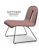 Chaise GOTHAM WOODY lounge, piétement noir, assise et dossier noyer, tissu 301rose.