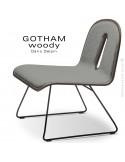 Chaise GOTHAM WOODY lounge, piétement noir, assise et dossier noyer, tissu 600gris.
