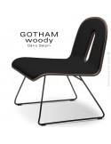 Chaise GOTHAM WOODY lounge, piétement noir, assise et dossier noyer, tissu 702noir.