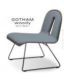 Chaise GOTHAM WOODY lounge, piétement noir, assise et dossier noyer, tissu 7001bleu.