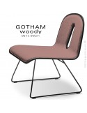 Chaise GOTHAM WOODY lounge, piétement noir, assise et dossier noir, tissu 301rose.